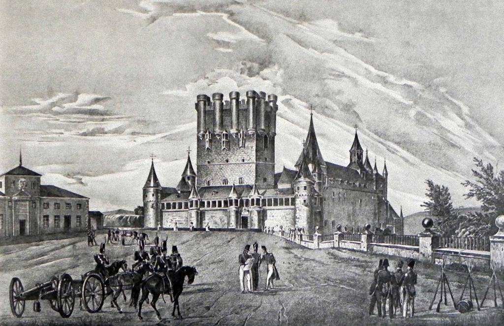 Grabado del Real Colegio de Artillería en el Alcázar de Segovia