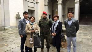 La delegación de la ciudad de Daejeon junto con el Teniente de Alcaide de la fortaleza, D. Ángel M. Borao Bastardo