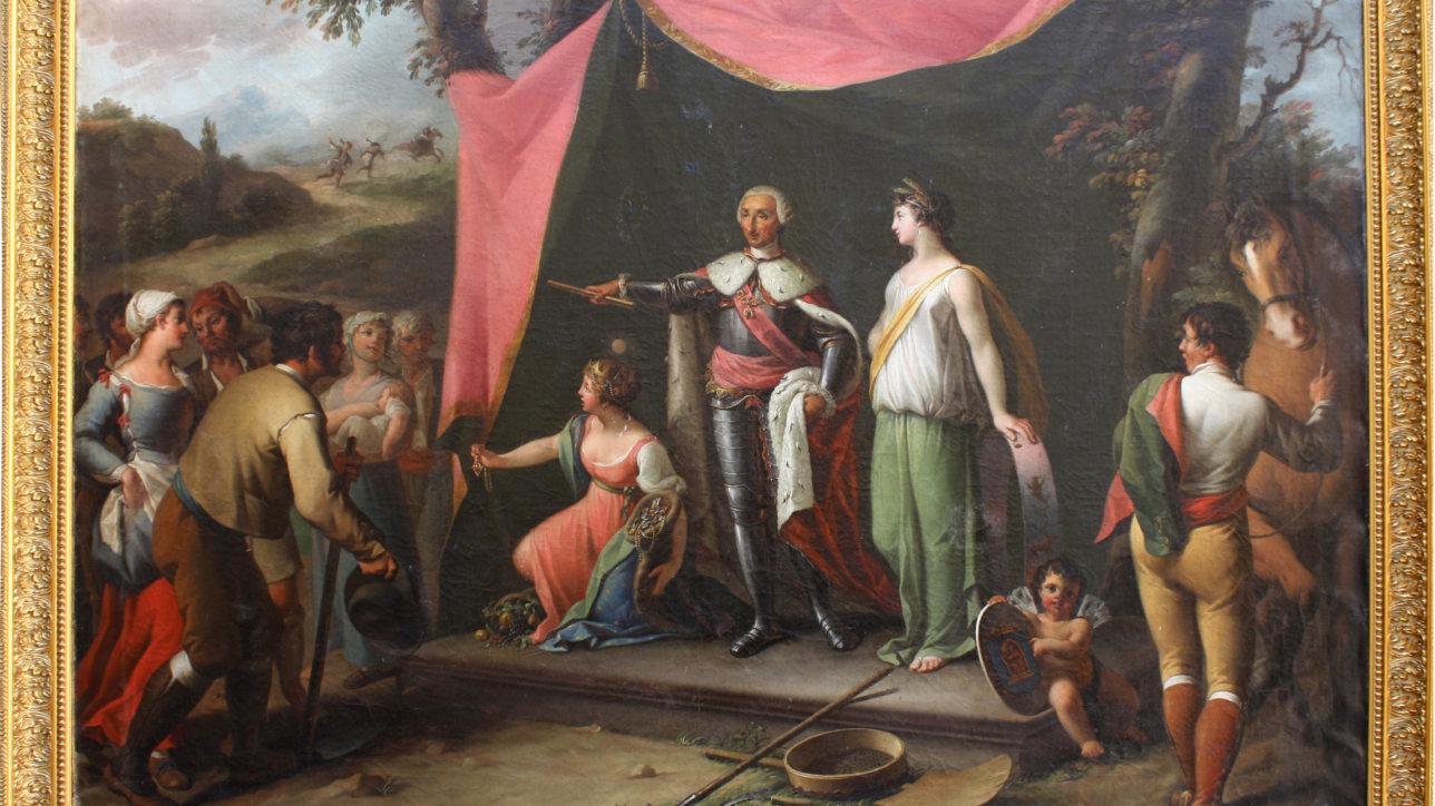 El rey Carlos III funda la colonia de La Carolina, óleo sobre lienzo de Victorino López, perteneciente a la colección del Alcázar de Segovia