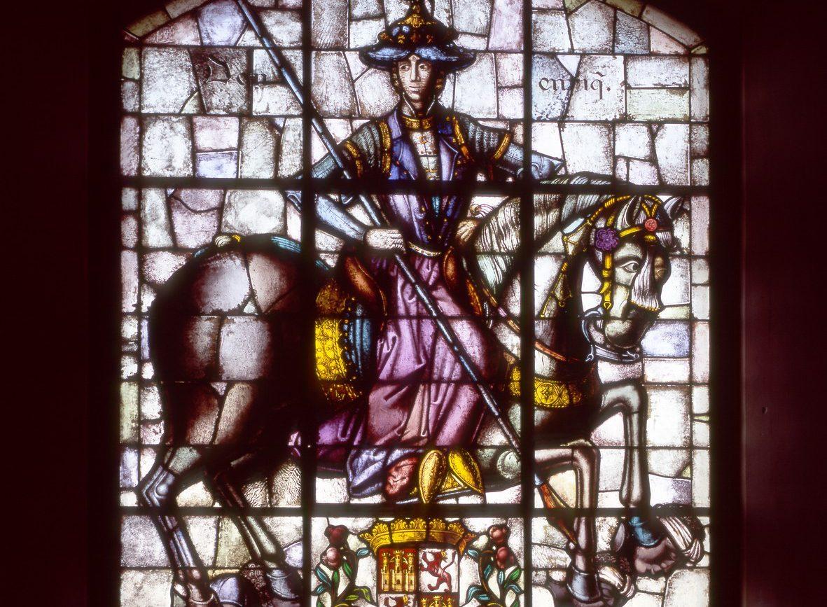 Vidriera de Enrique IV – En la crujía norte del Alcázar se exponen las vidrieras realizadas por Muñoz de Pablos entre 1954 y 2009