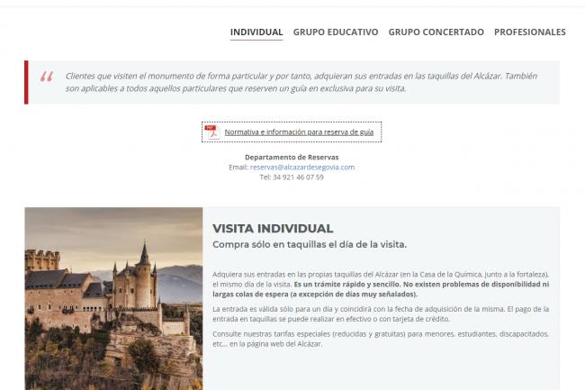La opción visita individual con guía en exclusiva está dirigida a aquellas personas que deseen realizar su visita al Alcázar acompañadas por un guía especializado en exclusiva, es decir, sin formar parte de un grupo de visita guiada junto con otros visitantes.
