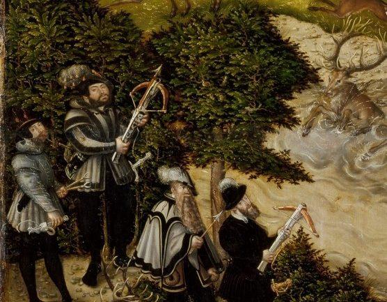 Lucas Cranach el Viejo. Cacería en el castillo de Torgau en honor de Carlos V (fragmento). Óleo sobre lienzo. Museo del Prado.