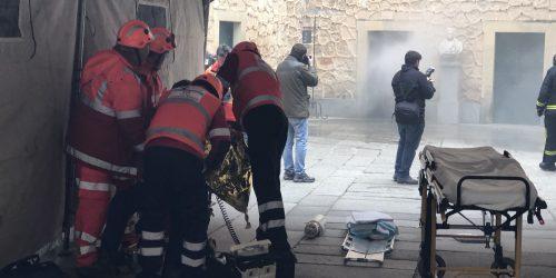 Imágenes del simulacro en el Alcázar de Segovia del 6 de marzo de 2019