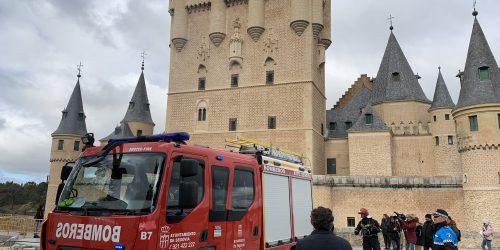 Imágenes del simulacro en el Alcázar de Segovia del 6 de marzo de 2020